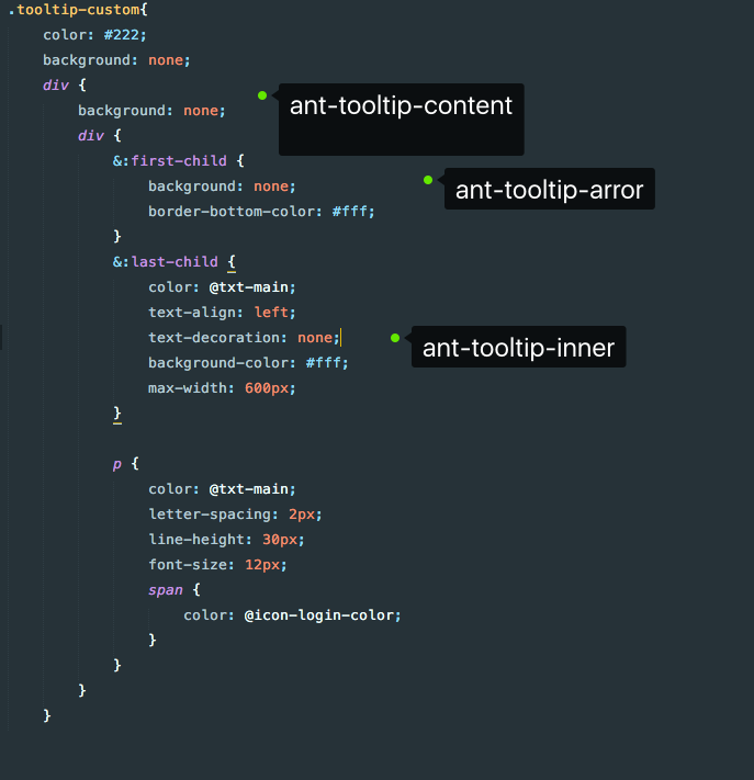 ant design Tooltip文字提示的样式设置
